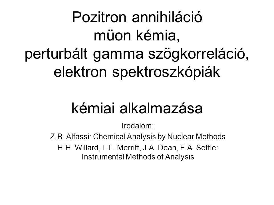 Pozitron annihiláció müon kémia, perturbált gamma szögkorreláció, elektron spektroszkópiák kémiai alkalmazása Irodalom: Z.B. Alfassi: Chemical Analysi