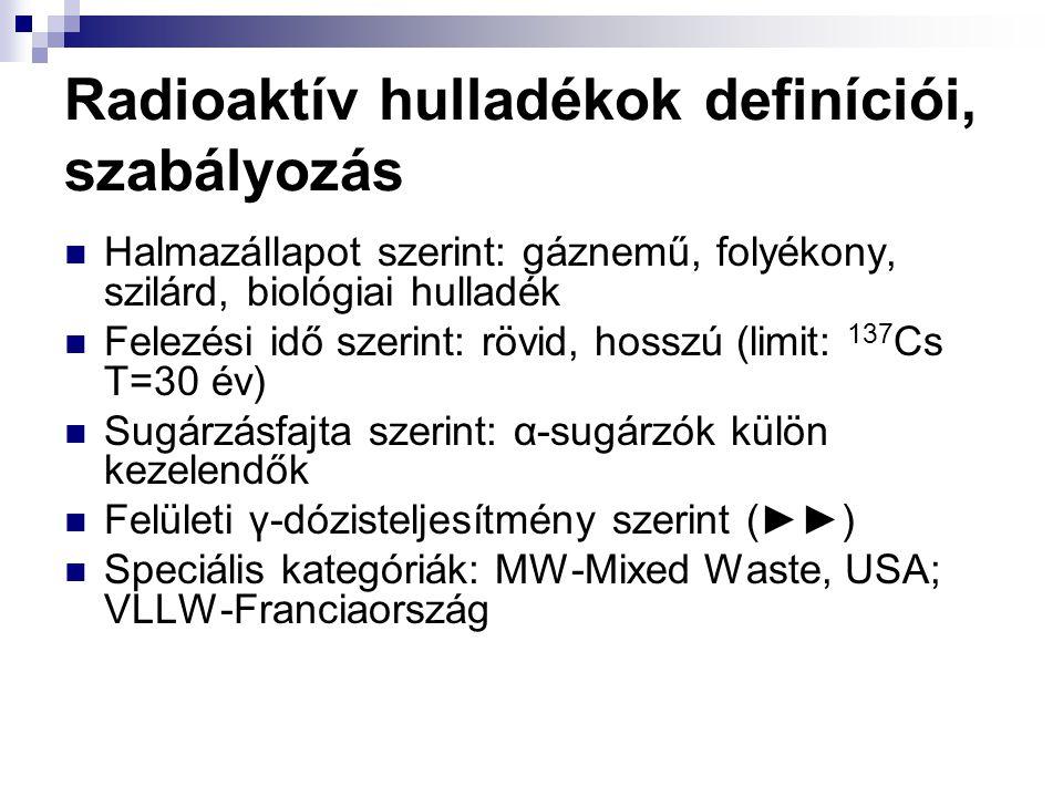 Radioaktív hulladékok definíciói, szabályozás Halmazállapot szerint: gáznemű, folyékony, szilárd, biológiai hulladék Felezési idő szerint: rövid, hoss
