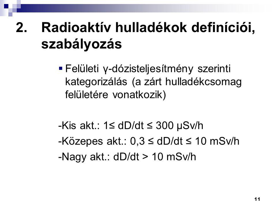 11 2.Radioaktív hulladékok definíciói, szabályozás  Felületi γ-dózisteljesítmény szerinti kategorizálás (a zárt hulladékcsomag felületére vonatkozik)