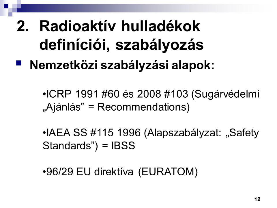 """2.Radioaktív hulladékok definíciói, szabályozás 12  Nemzetközi szabályzási alapok: ICRP 1991 #60 és 2008 #103 (Sugárvédelmi """"Ajánlás"""" = Recommendatio"""