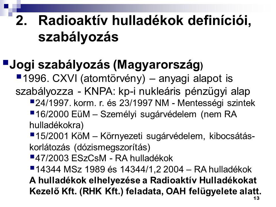 2.Radioaktív hulladékok definíciói, szabályozás 13  Jogi szabályozás (Magyarország )  1996. CXVI (atomtörvény) – anyagi alapot is szabályozza - KNPA
