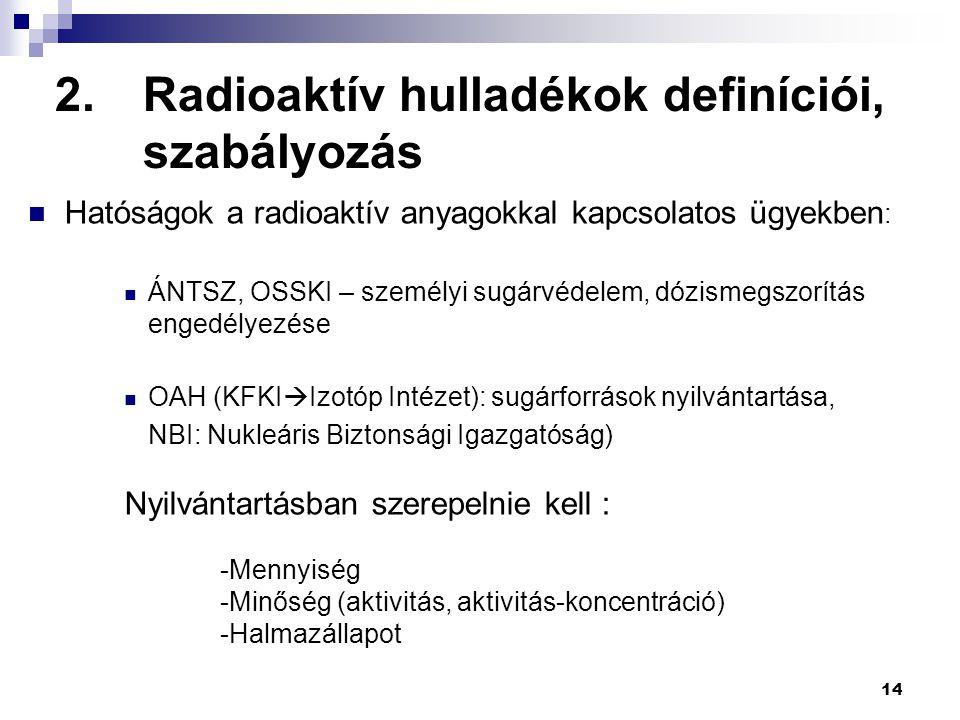 14 2.Radioaktív hulladékok definíciói, szabályozás Hatóságok a radioaktív anyagokkal kapcsolatos ügyekben : ÁNTSZ, OSSKI – személyi sugárvédelem, dózi