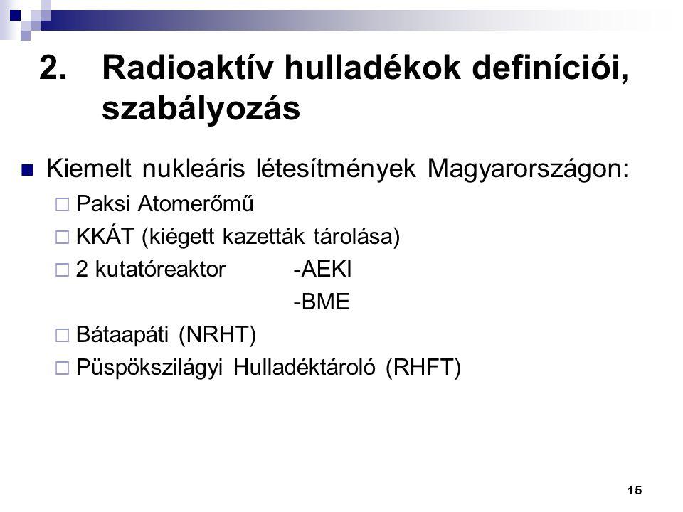 15 2.Radioaktív hulladékok definíciói, szabályozás Kiemelt nukleáris létesítmények Magyarországon:  Paksi Atomerőmű  KKÁT (kiégett kazetták tárolása