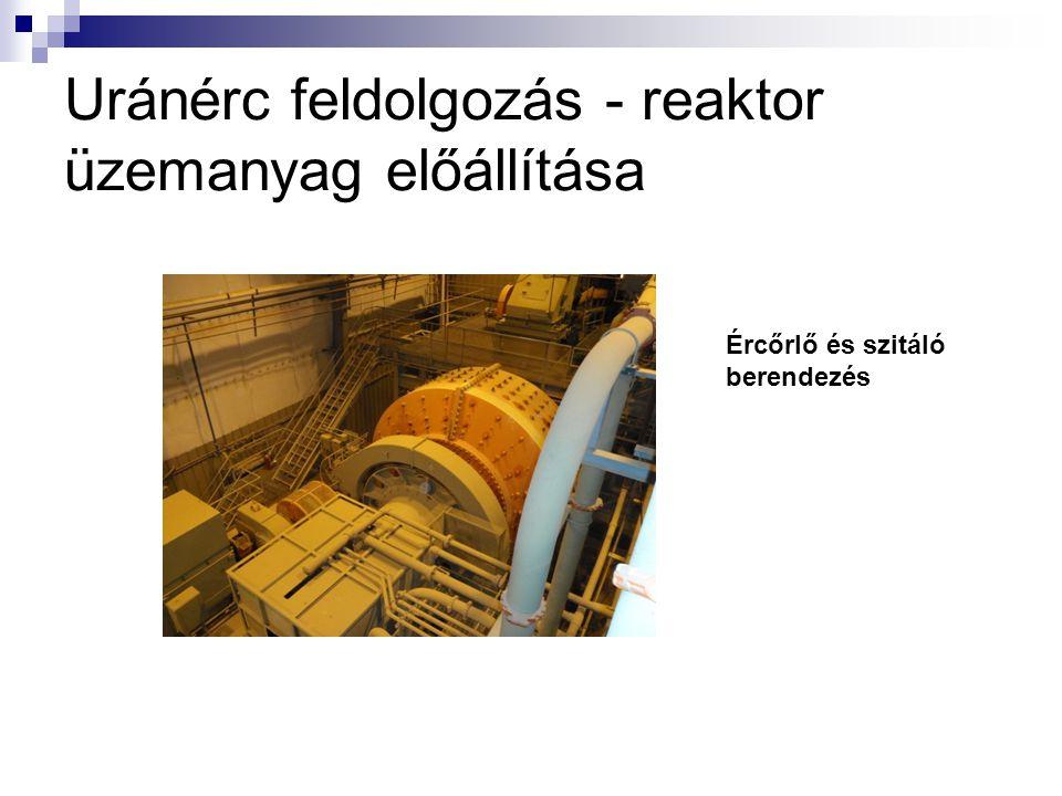Uránérc feldolgozás - reaktor üzemanyag előállítása Ércőrlő és szitáló berendezés