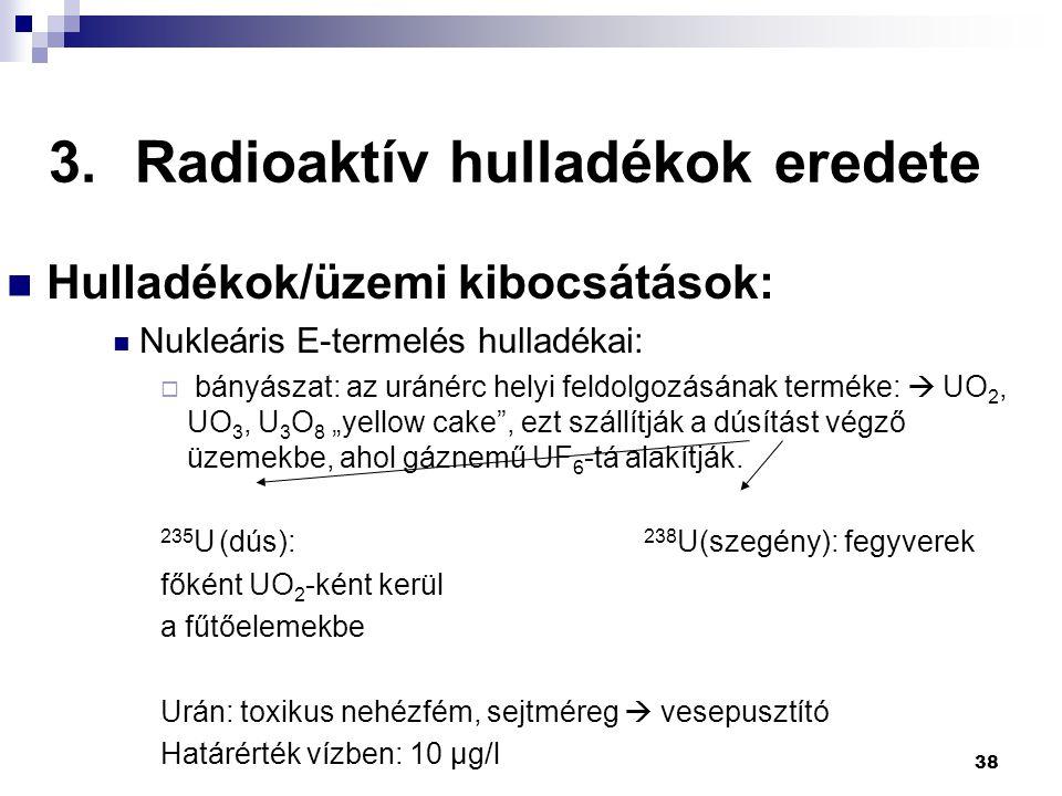 3.Radioaktív hulladékok eredete Hulladékok/üzemi kibocsátások: Nukleáris E-termelés hulladékai:  bányászat: az uránérc helyi feldolgozásának terméke: