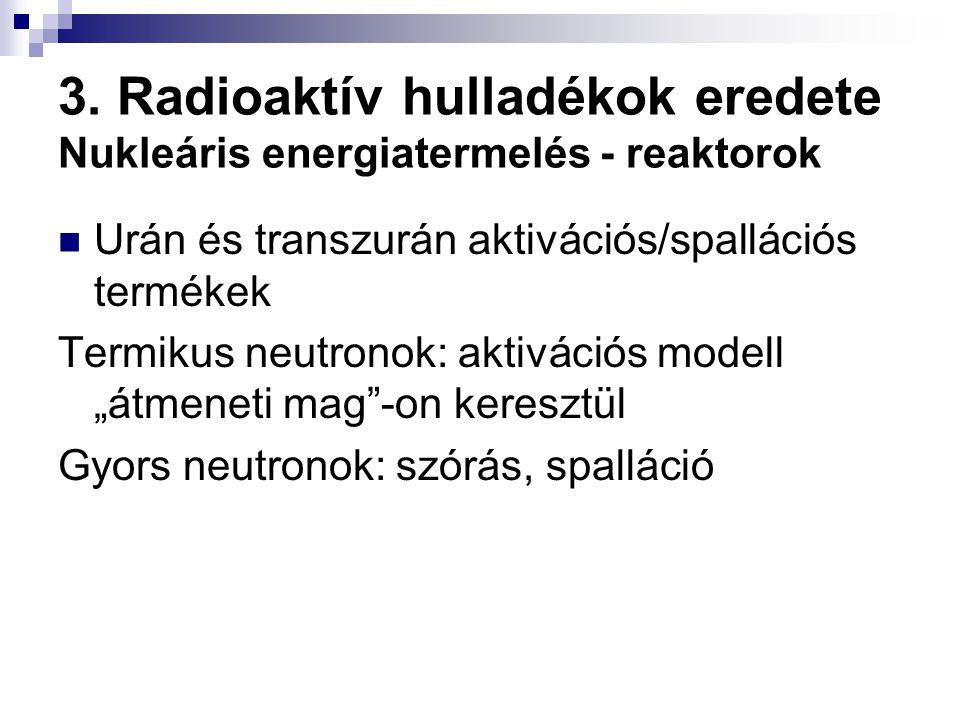 3. Radioaktív hulladékok eredete Nukleáris energiatermelés - reaktorok Urán és transzurán aktivációs/spallációs termékek Termikus neutronok: aktiváció
