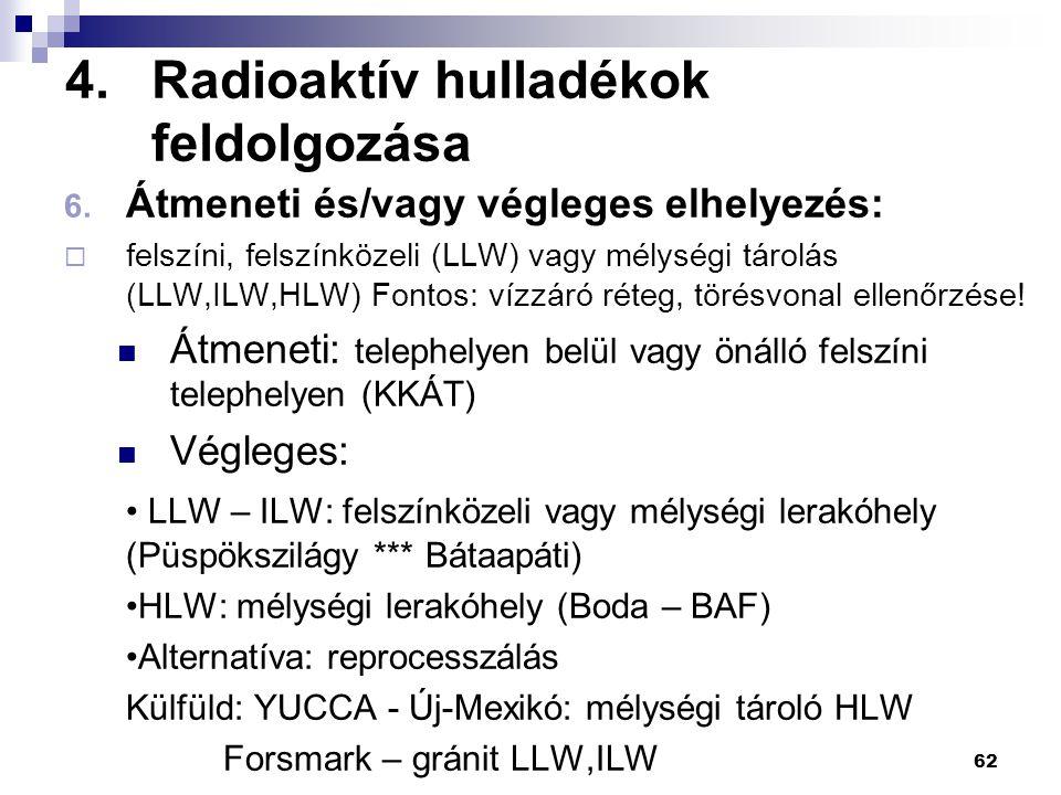 4.Radioaktív hulladékok feldolgozása 6. Átmeneti és/vagy végleges elhelyezés:  felszíni, felszínközeli (LLW) vagy mélységi tárolás (LLW,ILW,HLW) Font