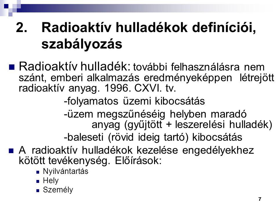 2.Radioaktív hulladékok definíciói, szabályozás Elhanyagolható dózis: H i ≈10-30 μSv/év Mentességi szint : (Exemption) egy sugárforrás, illetve egy adott radioaktív koncentrációval jellemzett anyag a legkedvezőtlenebb forgatókönyv mellett sem okoz H i -nél nagyobb dózist (foglalkozási vagy lakossági helyzetben).