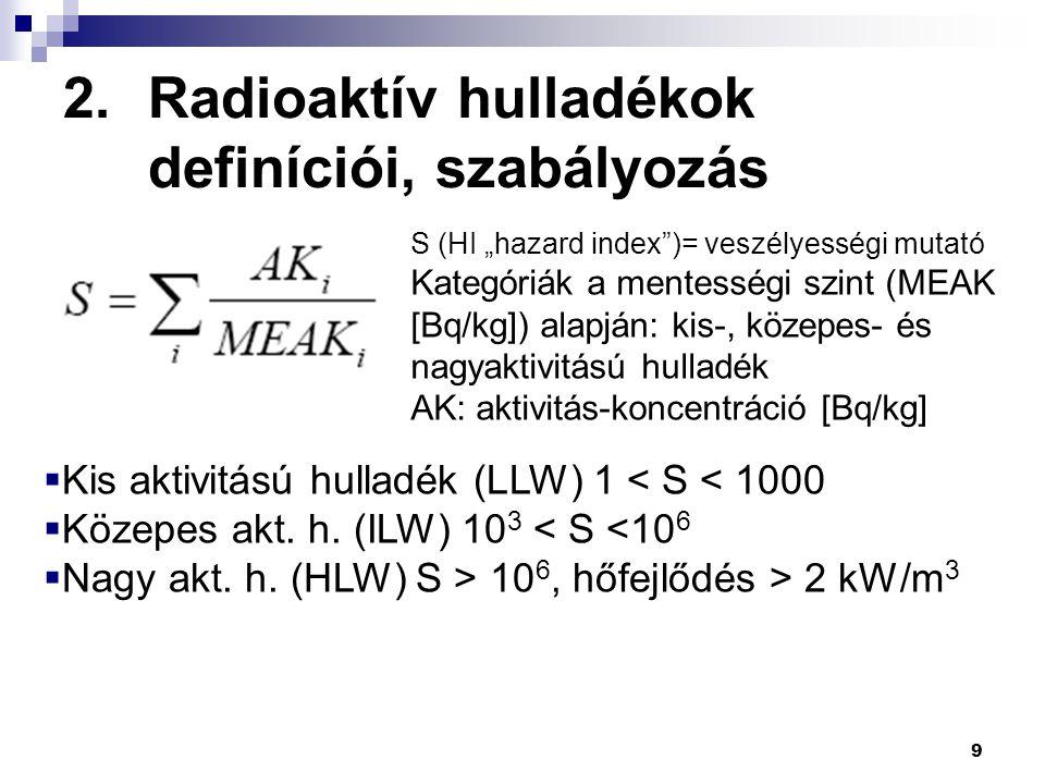 Radioaktív hulladékok definíciói, szabályozás Halmazállapot szerint: gáznemű, folyékony, szilárd, biológiai hulladék Felezési idő szerint: rövid, hosszú (limit: 137 Cs T=30 év) Sugárzásfajta szerint: α-sugárzók külön kezelendők Felületi γ-dózisteljesítmény szerint (►►) Speciális kategóriák: MW-Mixed Waste, USA; VLLW-Franciaország