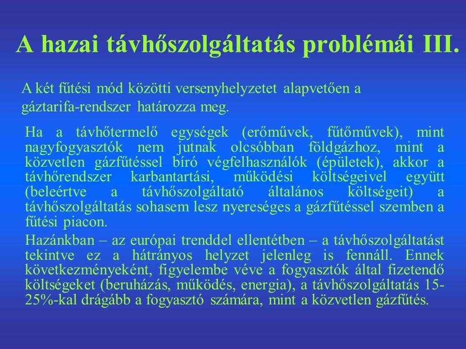 A hazai távhőszolgáltatás problémái III.