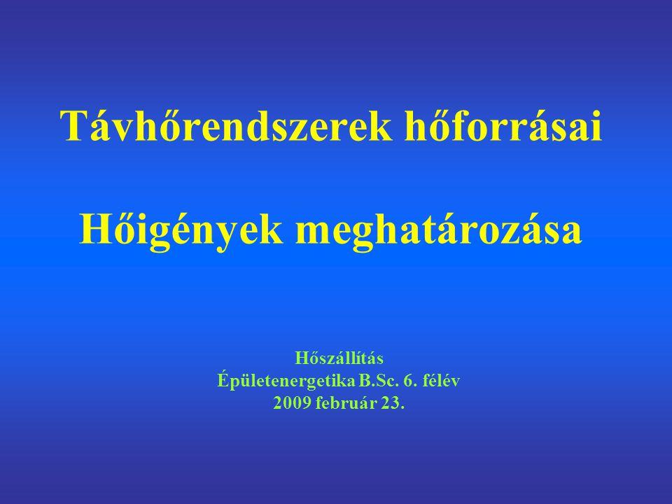 Távhőrendszerek hőforrásai Hőigények meghatározása Hőszállítás Épületenergetika B.Sc. 6. félév 2009 február 23.