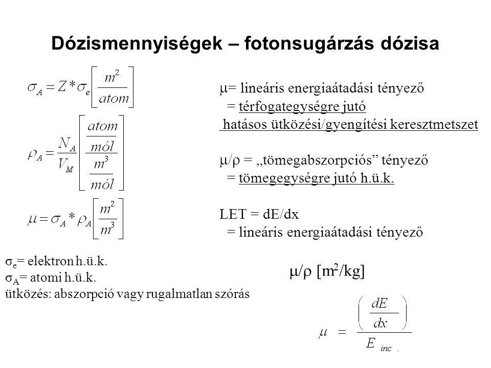 Dózismennyiségek – fotonsugárzás dózisa  = lineáris energiaátadási tényező = térfogategységre jutó hatásos ütközési/gyengítési keresztmetszet  /  =