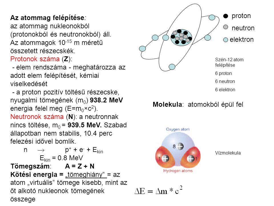 neutron proton elektron Szén-12 atom felépítése 6 proton 6 neutron 6 elektron Az atommag felépítése: az atommag nukleonokból (protonokból és neutronok