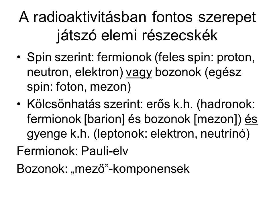 A radioaktivitásban fontos szerepet játszó elemi részecskék Spin szerint: fermionok (feles spin: proton, neutron, elektron) vagy bozonok (egész spin: