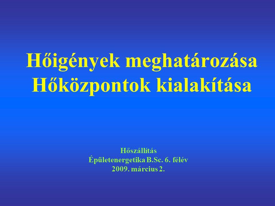 Hőigények meghatározása Hőközpontok kialakítása Hőszállítás Épületenergetika B.Sc.