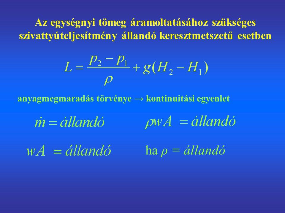 Az egységnyi tömeg áramoltatásához szükséges szivattyúteljesítmény állandó keresztmetszetű esetben anyagmegmaradás törvénye → kontinuitási egyenlet ha ρ = állandó