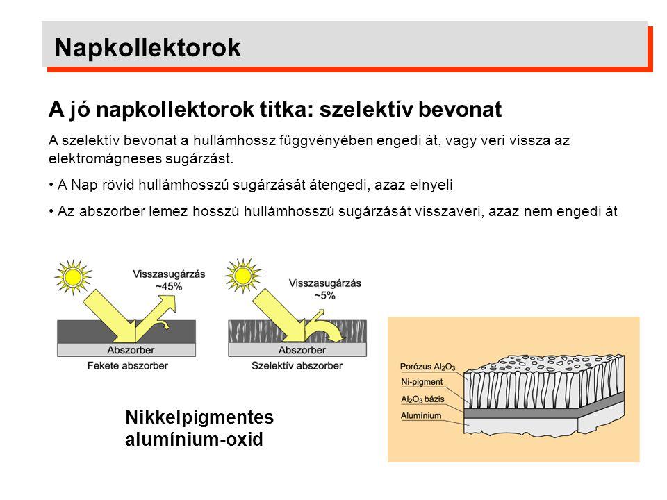 Napkollektorok Napkollektorok hatásfoka A kollektor felületére érkező napsugárzás hőmennyisége Hatásfok = A kollektorból a hőhordozó közeggel elvezetett hőmennyiség A hatásfok képlete:  =  0 - a 1.X - a 2.