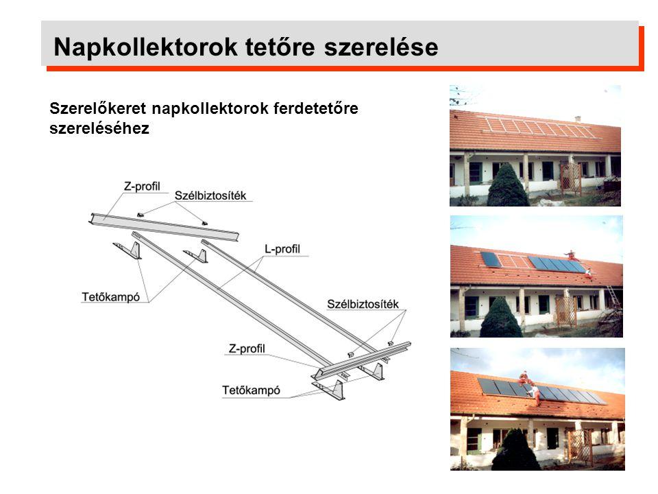 Napkollektorok tetőre szerelése Tetőbe integrált beépítés A napkollektorok helyettesítik a tetőhéjalást.