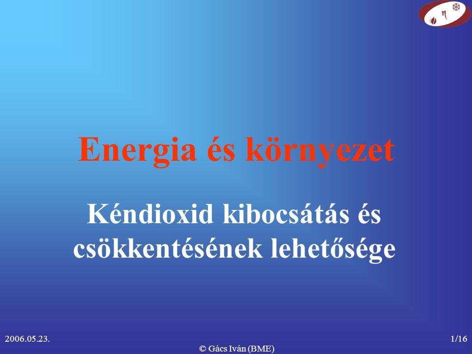 2006.05.23. © Gács Iván (BME) 1/16 Energia és környezet Kéndioxid kibocsátás és csökkentésének lehetősége