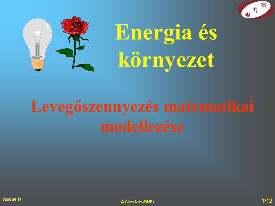 2006.09.13. © Gács Iván (BME) 1/12 Levegőszennyezés matematikai modellezése Energia és környezet