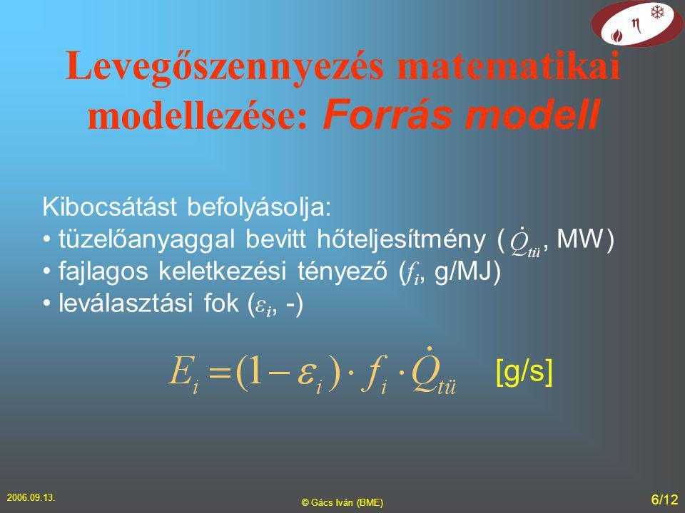 2006.09.13. © Gács Iván (BME) 6/12 Levegőszennyezés matematikai modellezése: Forrás modell Kibocsátást befolyásolja: tüzelőanyaggal bevitt hőteljesítm