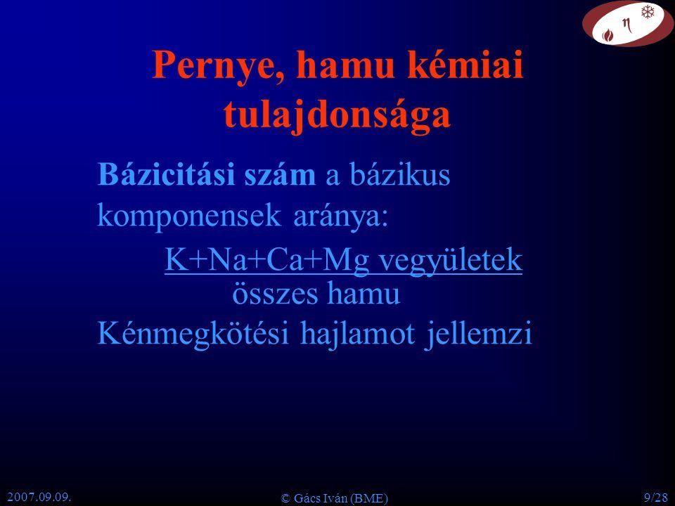 2007.09.09. © Gács Iván (BME) 9/28 Pernye, hamu kémiai tulajdonsága Bázicitási szám a bázikus komponensek aránya: K+Na+Ca+Mg vegyületek összes hamu Ké