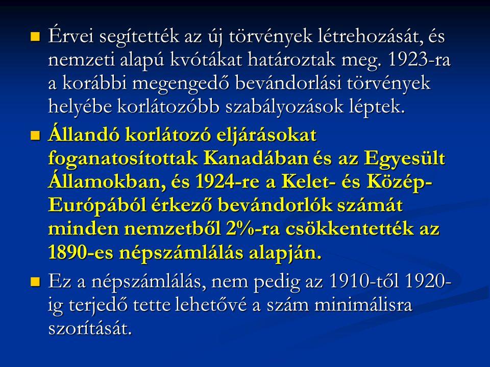 Érvei segítették az új törvények létrehozását, és nemzeti alapú kvótákat határoztak meg. 1923-ra a korábbi megengedő bevándorlási törvények helyébe ko