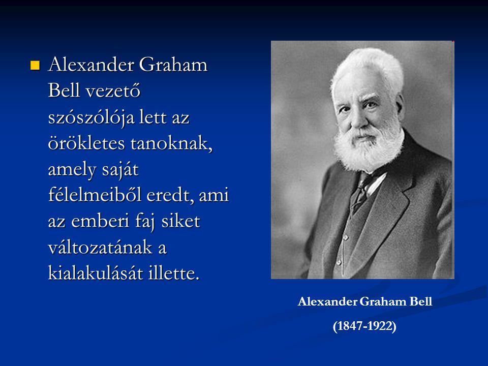 Alexander Graham Bell vezető szószólója lett az örökletes tanoknak, amely saját félelmeiből eredt, ami az emberi faj siket változatának a kialakulását