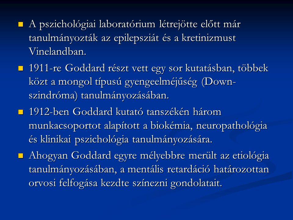 A pszichológiai laboratórium létrejötte előtt már tanulmányozták az epilepsziát és a kretinizmust Vinelandban. A pszichológiai laboratórium létrejötte