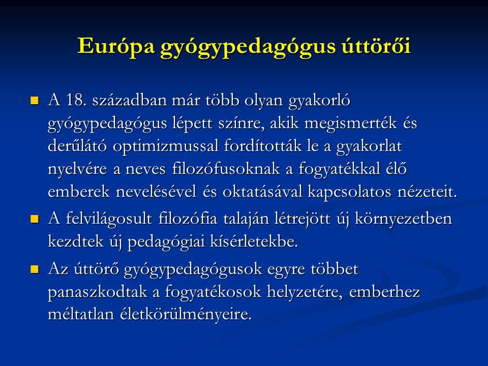 Európa gyógypedagógus úttörői A 18.