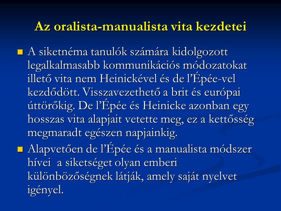 Az oralista-manualista vita kezdetei A siketnéma tanulók számára kidolgozott legalkalmasabb kommunikációs módozatokat illető vita nem Heinickével és de l'Épée-vel kezdődött.