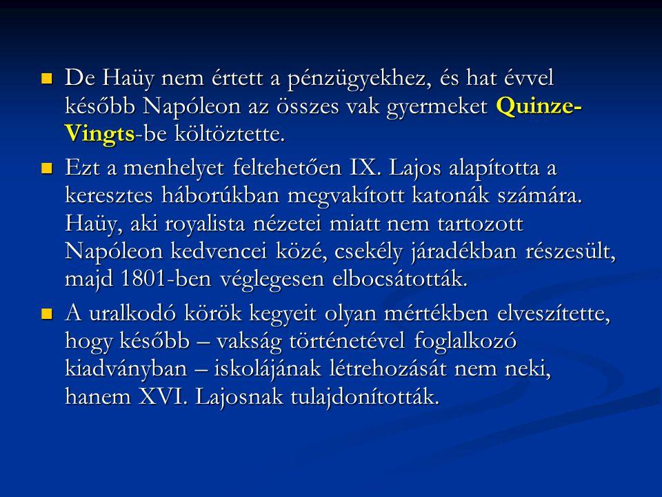 De Haüy nem értett a pénzügyekhez, és hat évvel később Napóleon az összes vak gyermeket Quinze- Vingts-be költöztette.