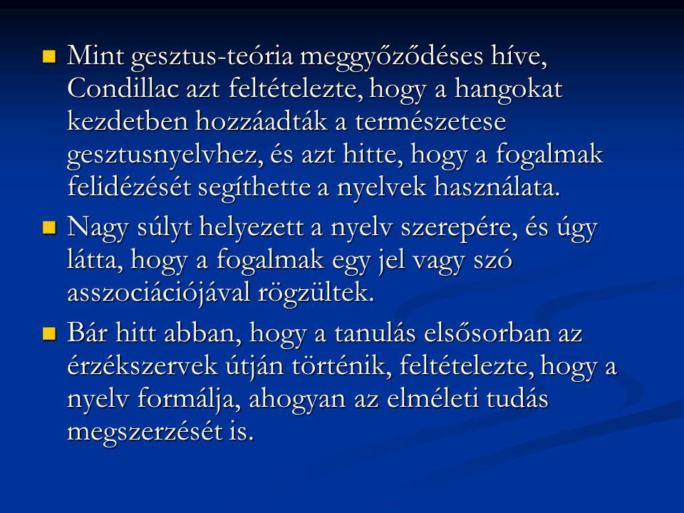 Mint gesztus-teória meggyőződéses híve, Condillac azt feltételezte, hogy a hangokat kezdetben hozzáadták a természetese gesztusnyelvhez, és azt hitte, hogy a fogalmak felidézését segíthette a nyelvek használata.