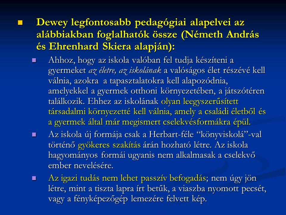 Dewey legfontosabb pedagógiai alapelvei az alábbiakban foglalhatók össze (Németh András és Ehrenhard Skiera alapján): Dewey legfontosabb pedagógiai al