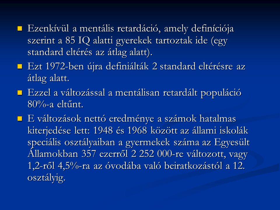Ezenkívül a mentális retardáció, amely definíciója szerint a 85 IQ alatti gyerekek tartoztak ide (egy standard eltérés az átlag alatt). Ezenkívül a me