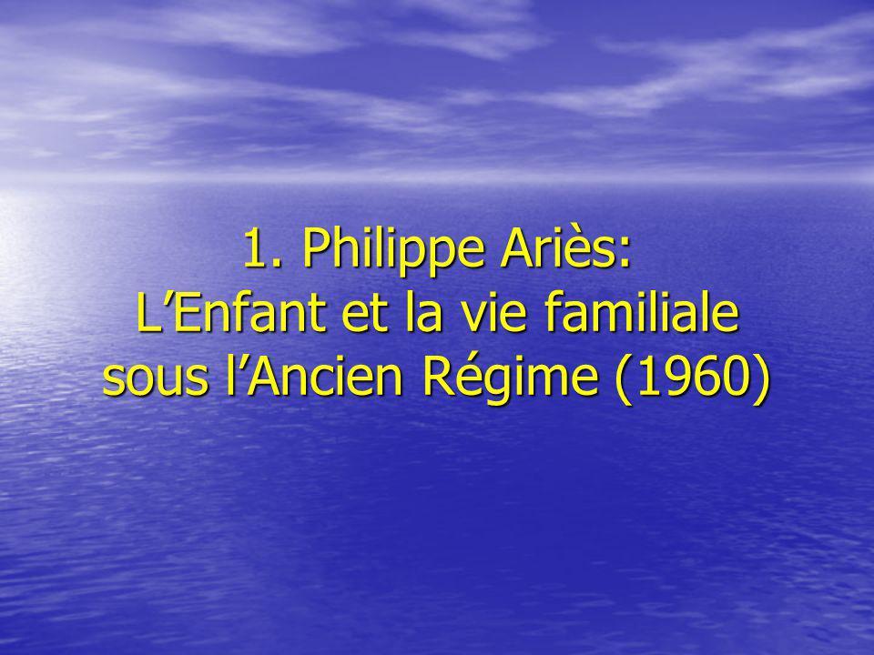 1. Philippe Ariès: L'Enfant et la vie familiale sous l'Ancien Régime (1960)