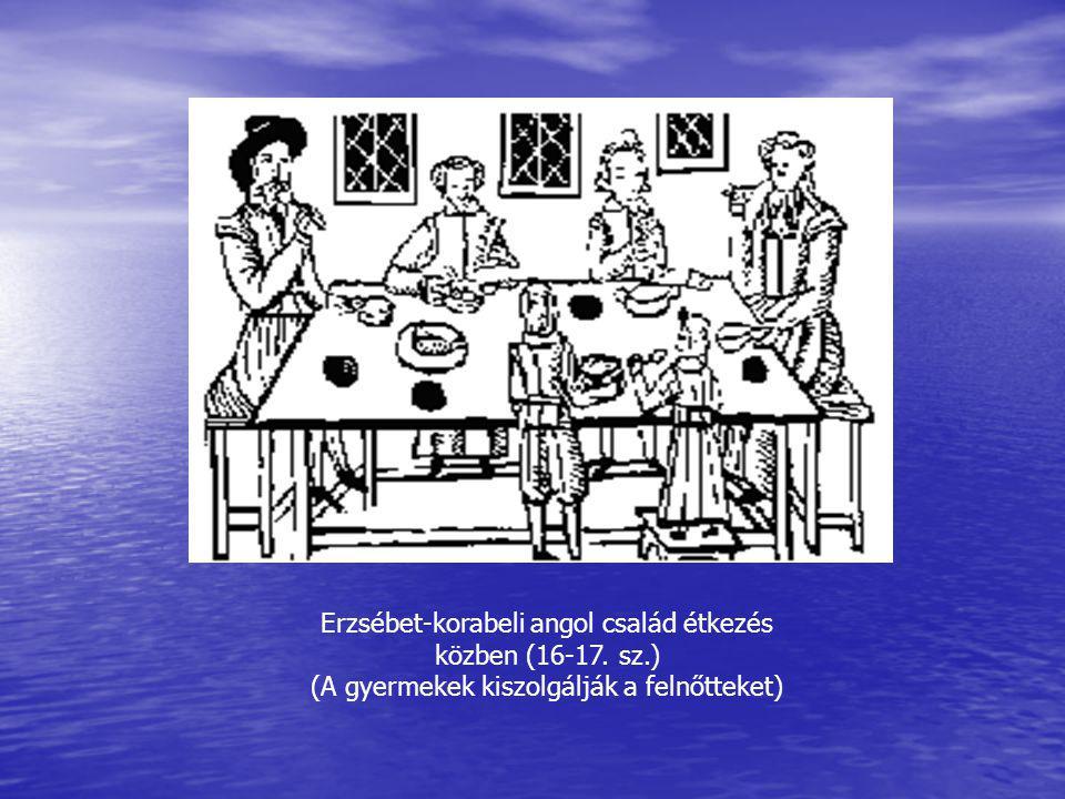 Erzsébet-korabeli angol család étkezés közben (16-17. sz.) (A gyermekek kiszolgálják a felnőtteket)