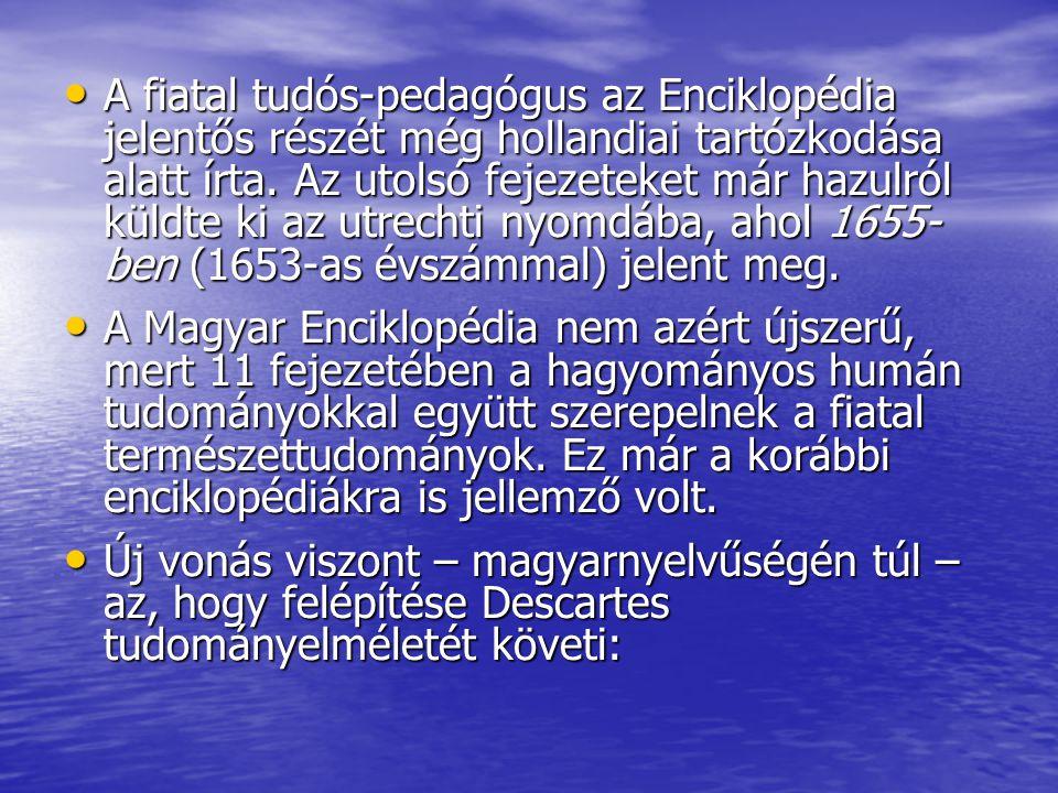 A fiatal tudós-pedagógus az Enciklopédia jelentős részét még hollandiai tartózkodása alatt írta. Az utolsó fejezeteket már hazulról küldte ki az utrec