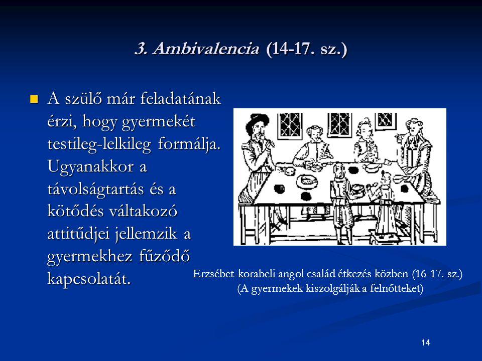 14 3. Ambivalencia (14-17. sz.) A szülő már feladatának érzi, hogy gyermekét testileg-lelkileg formálja. Ugyanakkor a távolságtartás és a kötődés vált