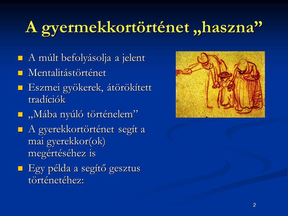 """13 """"A gyermek védelemre szorul A középkori keresztény egyház mint """"gyermekvédő A középkori keresztény egyház mint """"gyermekvédő Egyházi és világi törvények a gyermekgyilkosság és a kitevés ellen Egyházi és világi törvények a gyermekgyilkosság és a kitevés ellen A talált gyermekek """"feltételes megkeresztelése A talált gyermekek """"feltételes megkeresztelése Gyermekmenhelyek létesítése (Milánó 787, Bergamo 982, Padua 1000, Montpellier 1070, Firenze 1161)."""