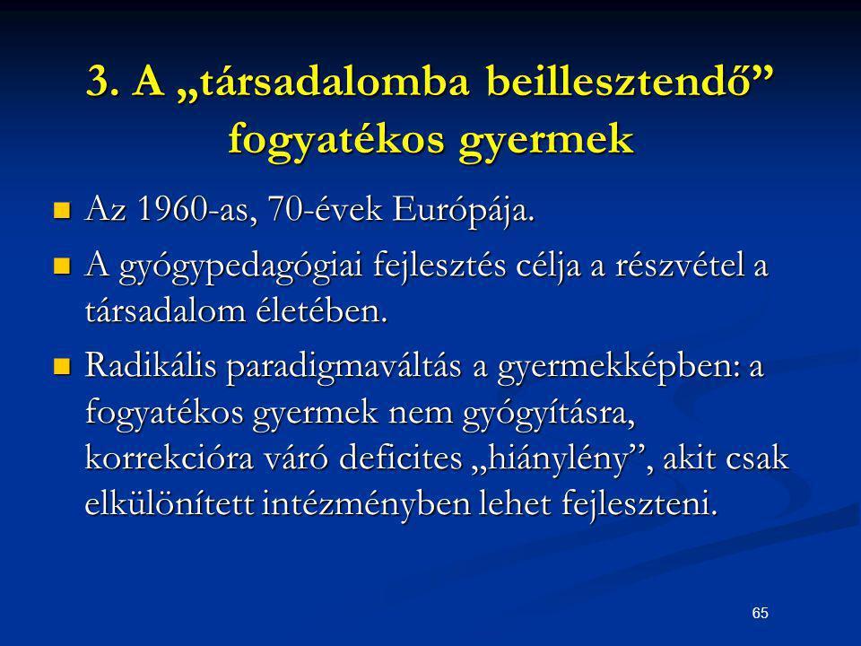 """65 3. A """"társadalomba beillesztendő"""" fogyatékos gyermek Az 1960-as, 70-évek Európája. Az 1960-as, 70-évek Európája. A gyógypedagógiai fejlesztés célja"""