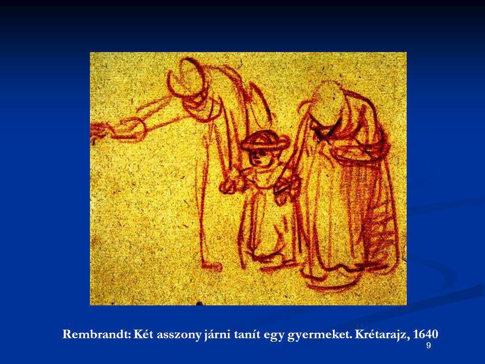 9 Rembrandt: Két asszony járni tanít egy gyermeket. Krétarajz, 1640