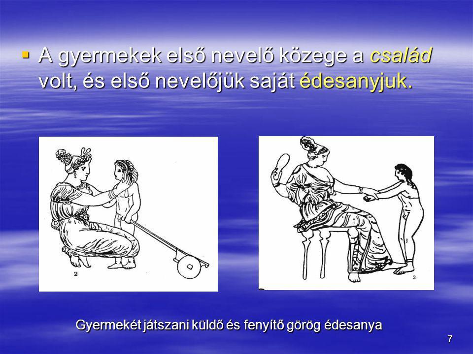 7  A gyermekek első nevelő közege a család volt, és első nevelőjük saját édesanyjuk. Gyermekét játszani küldő és fenyítő görög édesanya