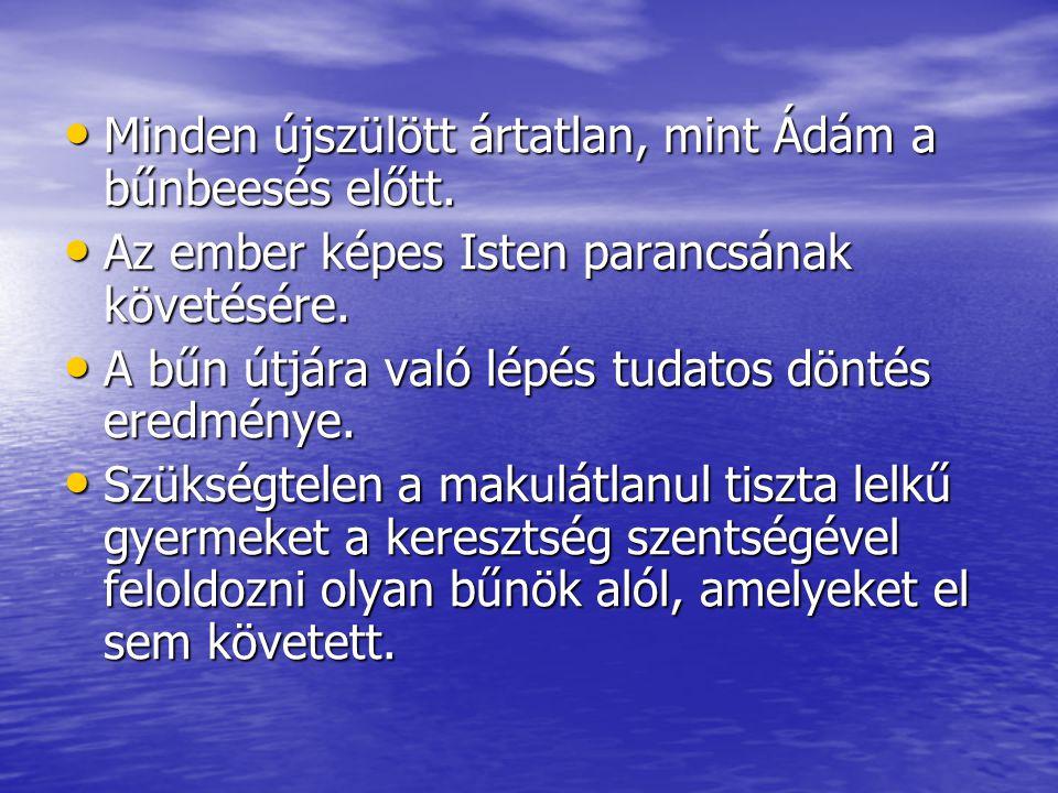 Minden újszülött ártatlan, mint Ádám a bűnbeesés előtt. Minden újszülött ártatlan, mint Ádám a bűnbeesés előtt. Az ember képes Isten parancsának követ