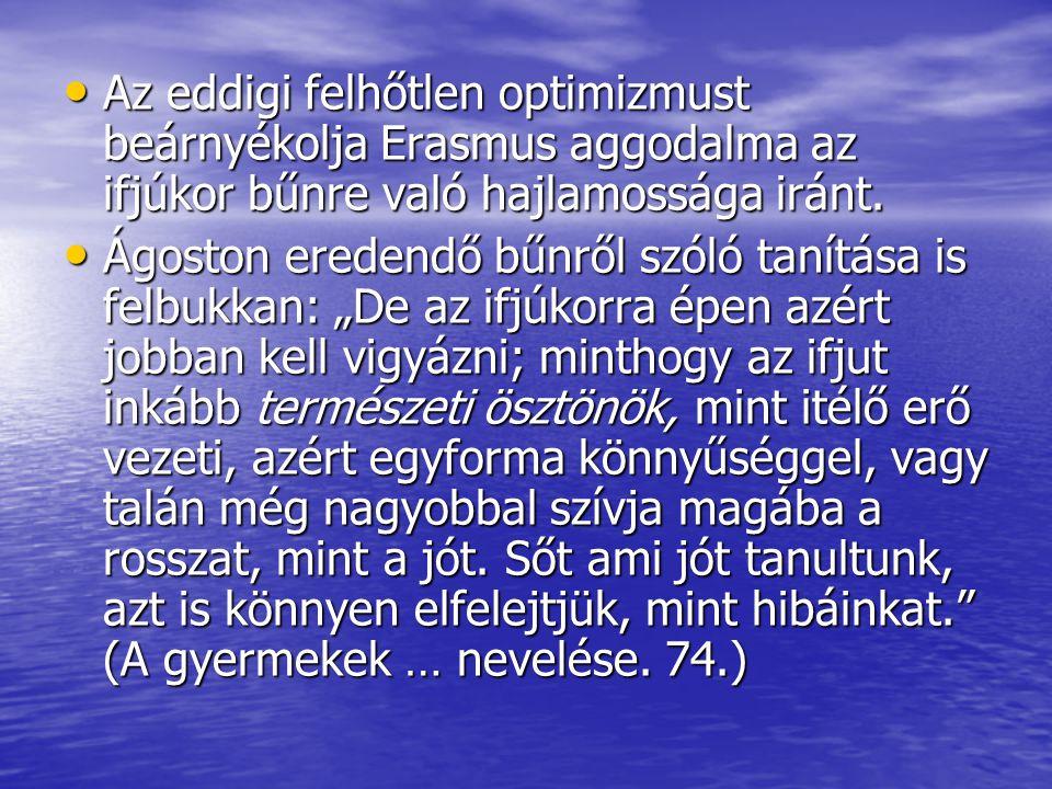 Az eddigi felhőtlen optimizmust beárnyékolja Erasmus aggodalma az ifjúkor bűnre való hajlamossága iránt. Az eddigi felhőtlen optimizmust beárnyékolja