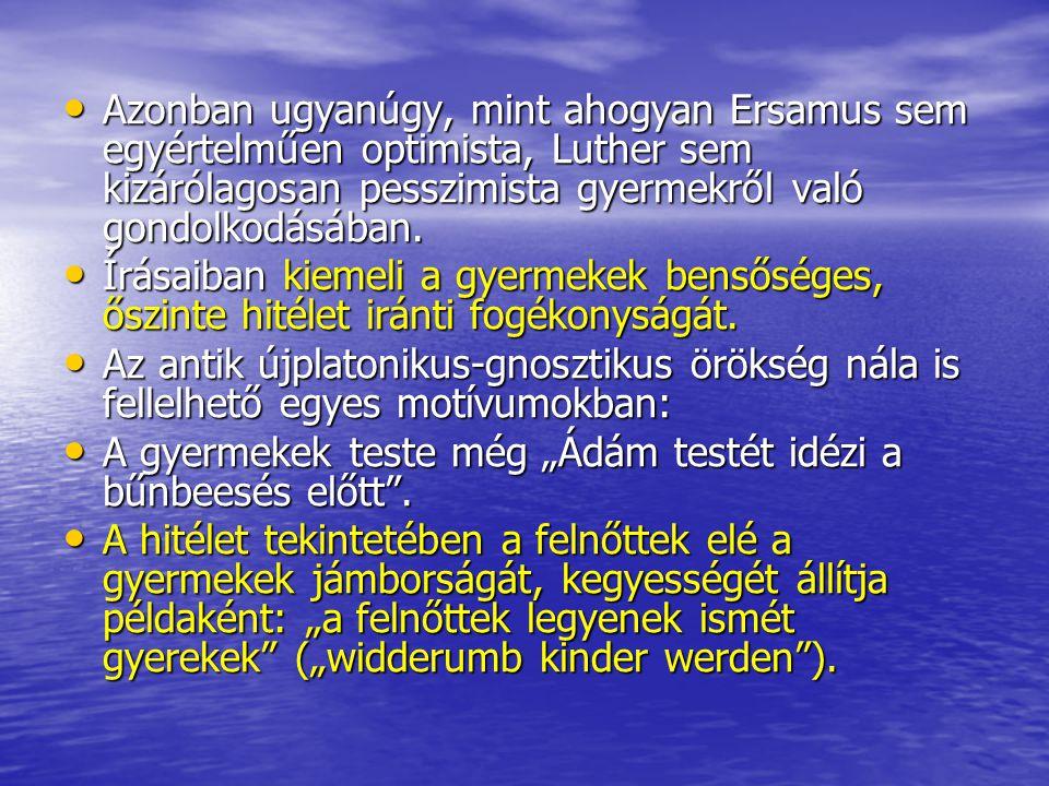 Azonban ugyanúgy, mint ahogyan Ersamus sem egyértelműen optimista, Luther sem kizárólagosan pesszimista gyermekről való gondolkodásában. Azonban ugyan