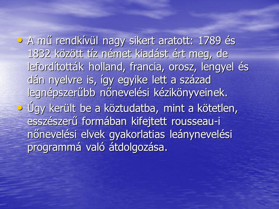 A mű rendkívül nagy sikert aratott: 1789 és 1832 között tíz német kiadást ért meg, de lefordították holland, francia, orosz, lengyel és dán nyelvre is
