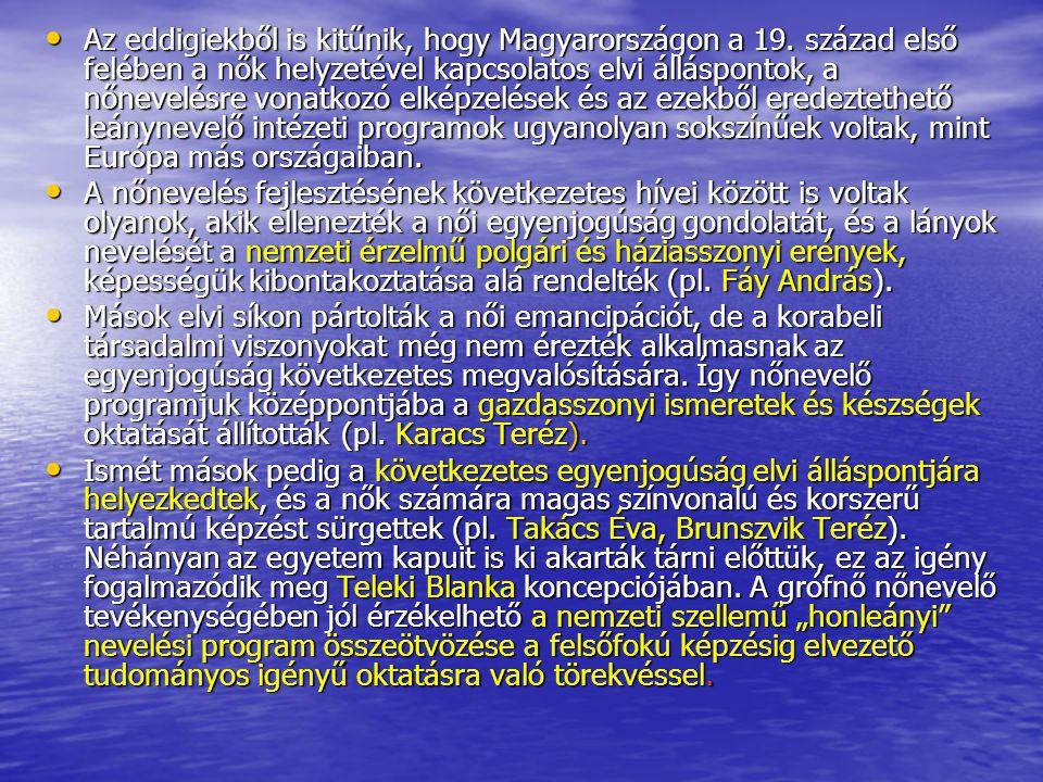 Az eddigiekből is kitűnik, hogy Magyarországon a 19. század első felében a nők helyzetével kapcsolatos elvi álláspontok, a nőnevelésre vonatkozó elkép