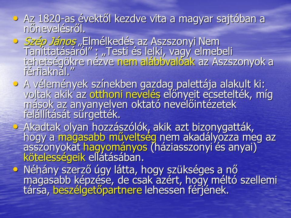 """Az 1820-as évektől kezdve vita a magyar sajtóban a nőnevelésről. Az 1820-as évektől kezdve vita a magyar sajtóban a nőnevelésről. Szép János """"Elmélked"""