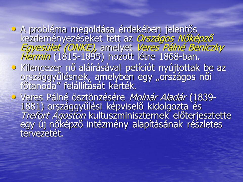 A probléma megoldása érdekében jelentős kezdeményezéseket tett az Országos Nőképző Egyesület (ONKE), amelyet Veres Pálné Beniczky Hermin (1815-1895) h